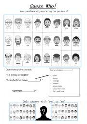 English Worksheet: Guess Who Game