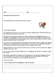English Worksheet: Comprehension based on BAsketball