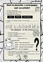English Worksheet: How to describe the newspaper? The elements of the article