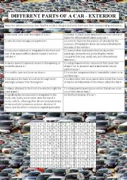 English Worksheet: Different parts of a car - exterior