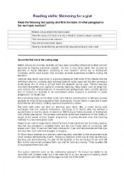English Worksheet: READING SKILLS_SKIMMING AND SCANNING FCE
