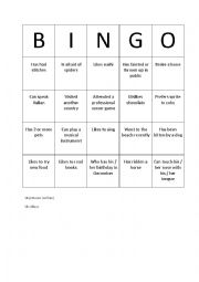 English Worksheet: Bingo conversation find someone who