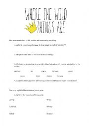 Where The Wild Things Are Worksheet