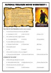 National Treasure Movie Worksheet 1