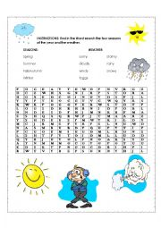 English Worksheet: word search seasons and weather
