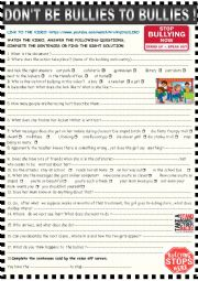 English Worksheet: Don�t be bullies to bullies: video session on bullying