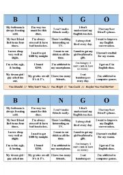 English Worksheet: Advice & Suggestions Bingo
