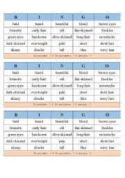 English Worksheet: Physical Appearance Bingo