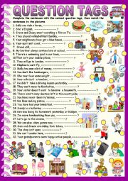 English Worksheet: Question tags : multi tenses with key