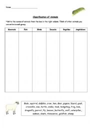 English Worksheet: Classification of Animals. Exercise