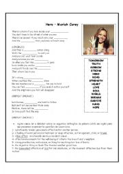 English Worksheet: Hero - Mariah Carey