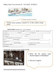 English Worksheet: Pros and cons of nuclear energy