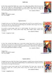 English Worksheet: Spiderman and captain america - used to/could/couldn�t