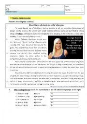 English Worksheet: Bethany Hamilton - 8th Grade Test - Making History