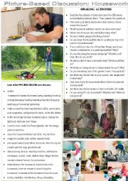 English Worksheet: picture-based discussion: housework