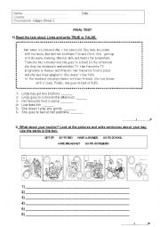 English Worksheet: Happy Street 2 Final Test