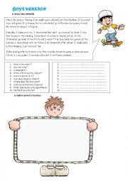 English Worksheet: Reading Comprehension and Writing Activity for Boys