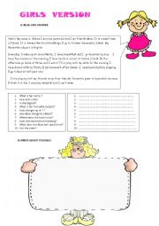 English Worksheet: Reading Comprehension and Writing Activity for Girls