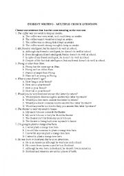 English Worksheet: Indirect writing 3 - Multiple choice questions