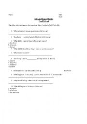 English Worksheet: Listening Activity - Mickey Mouse (Ghoul Friend) Video Worksheet
