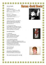 English Worksheet: ***Heroes- David Bowie***