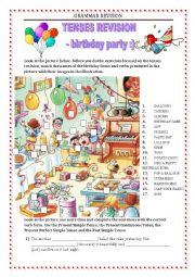 English Worksheet: GRAMMAR REVISION - tense miscellaneous - birthday party