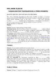 consolodation tasks;unit 3/lesson 4; prize winners