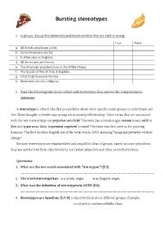 English Worksheet: Bursting stereotypes