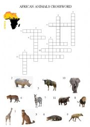 English Worksheet: African Animals Crossword with key