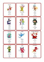 English Worksheet: tabu cards - characters