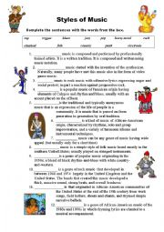 English Worksheet: Styles  of Music