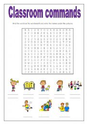 English worksheet: Classroom commands