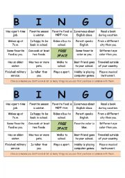 English Worksheet: Get To Know You Bingo