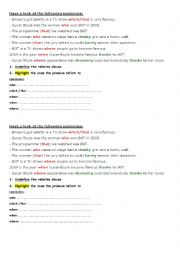 English Worksheet: relative clauses Britain´s got talents