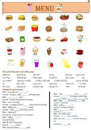 English Worksheet: FAST FOOD MENU
