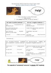 English Worksheet: Some and Any with Simba from The Lion King