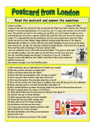 English Worksheet: Postcard from London