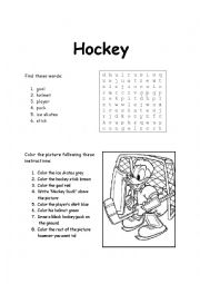 Hockey Word Search and Coloring-by-instructions