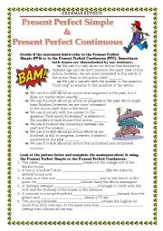 English Worksheet: GRAMMA REVISION -  present perfect & present perfect continuous
