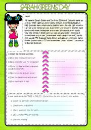 English Worksheet: Sarah Green�s day
