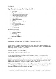 English Worksheet: cottage pie (it includes key)