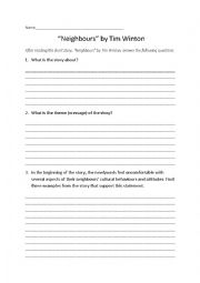 English Worksheet: Neighbours by Tim Winton short story comprehension questions