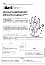 English Worksheet: Palm surgery to change your destiny