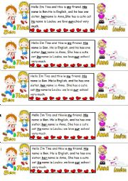 English Worksheet: personal pronouns and possessive adjectives text