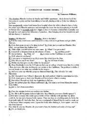 English worksheets a streetcar named desire for A streetcar named desire analysis pdf