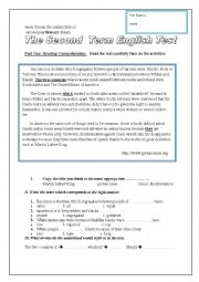 English Worksheet: test second year social segregation with key