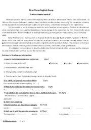 English Worksheet: exam3rd year