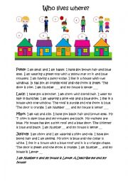 English Worksheet: Who lives in which house?