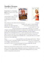 English Worksheet: Marilyn Monroe´s biography