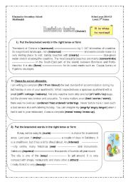 English Worksheet: Revision for module 3 3rd form